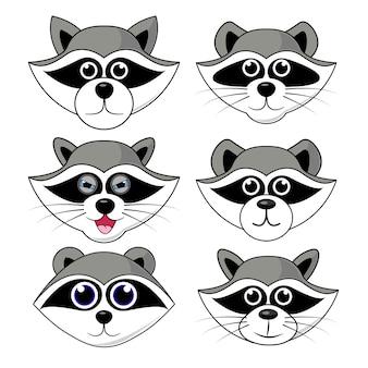Gargarisme raton laveur, tête, expression faciale et illustration des émotions sur fond blanc en set vector