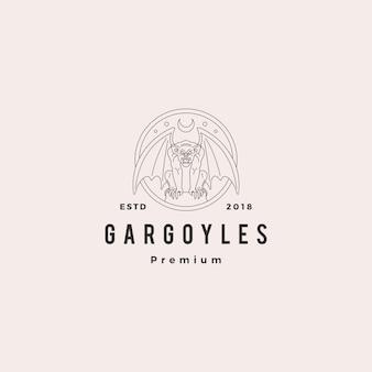 Gargouilles gargouille logo vector illustration de contour