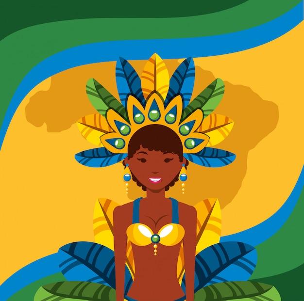 Garota brésilien danse carnaval personnage illustration