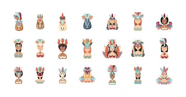 Garotas isolés femmes et chevaux avec des costumes du brésil