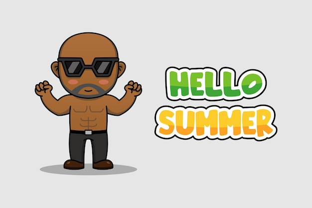 Gars avec bonjour bannière de voeux d'été