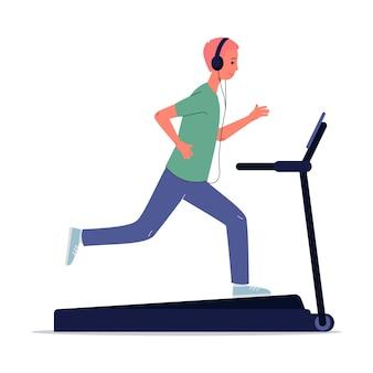 Un gars avec des écouteurs travaille sur un tapis roulant. un homme écoute de la musique ou la radio en ligne avec des écouteurs. illustration de dessin animé plat isolé sur fond blanc.