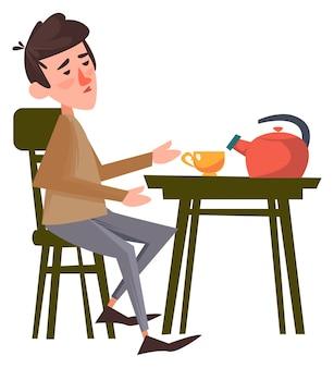 Le gars est assis sur la chaise à côté de la table boire du thé seul illustration vectorielle