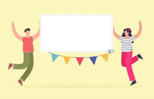 Un gars et une fille gais tiennent une bannière blanche, placez votre texte. félicitations, vacances. illustration dans le style plat de dessin animé.