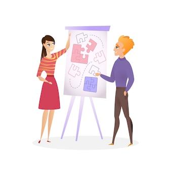 Un gars et une fille d'illustration planifient un projet