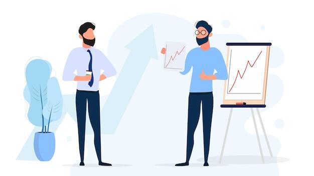 Le gars montre un rapport au patron. présentation avec dynamique positive. conseil pour le papier. infographie. croissance des affaires. isolé. .