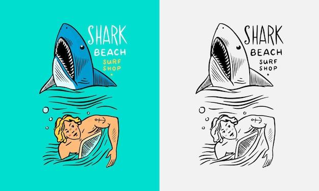 Le gars nage loin du requin été surf signe californie carte vintage surfeur homme sur le