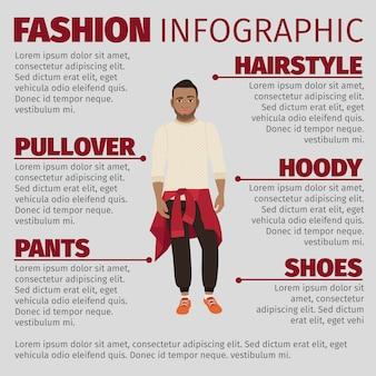 Gars noir dans le modèle d'infographie de la mode pull