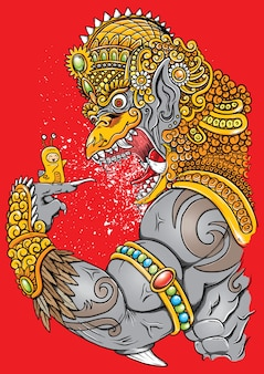 Garuda en colère et illustration d'escargot mignon avec des ornements traditionnels