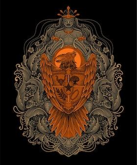 Garuda indonésie gravure ornement pattren