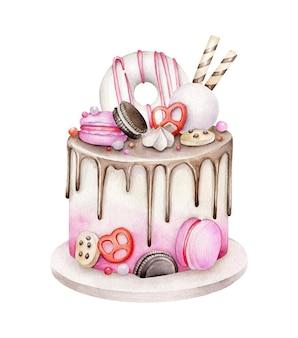 Gâteau d'anniversaire aquarelle isolé sur blanc