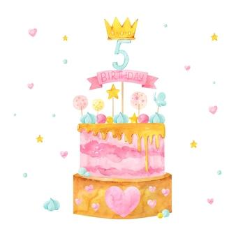 Gâteau d'anniversaire aquarelle peint à la main avec topper
