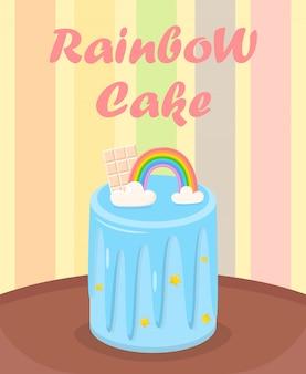 Gâteau d'anniversaire avec arc-en-ciel