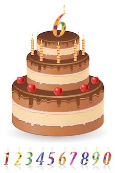 Gâteau d'anniversaire au chocolat avec des nombres d'illustration vectorielle de l'âge