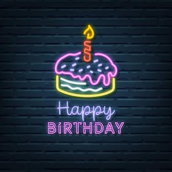 Gâteau d'anniversaire au néon