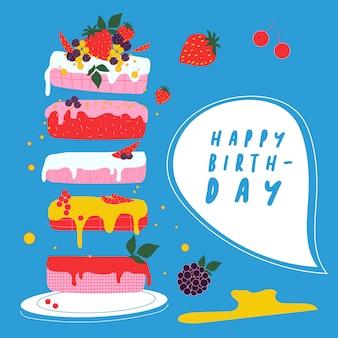 Gâteau d'anniversaire aux fruits. fond bleu