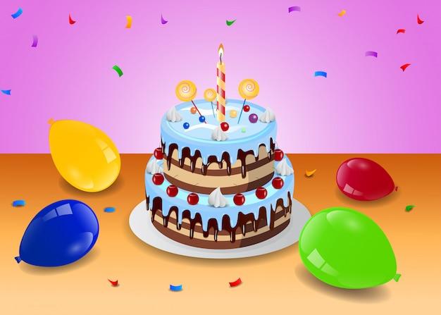 Gâteau d'anniversaire avec ballon