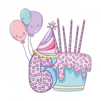 Gâteau d'anniversaire avec des ballons et numéro 6