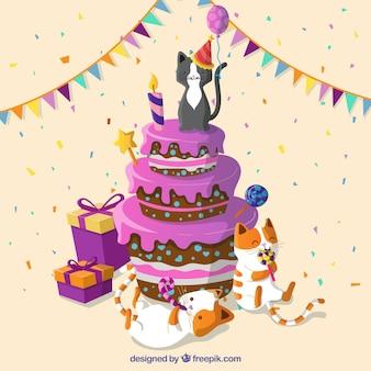 Gâteau d'anniversaire avec des chats