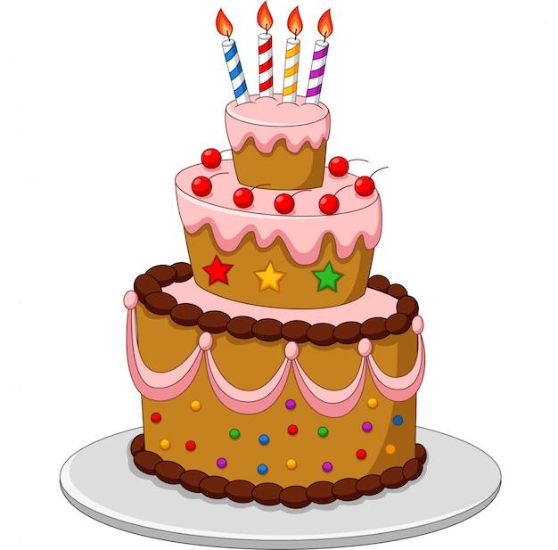 Gâteau d'anniversaire coloré avec des bougies isolé sur fond blanc