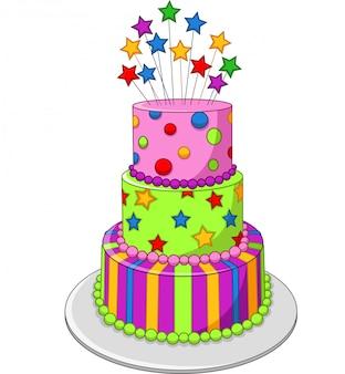Gâteau d'anniversaire coloré isolé sur fond blanc