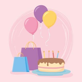 Gâteau d'anniversaire et décoration de ballons
