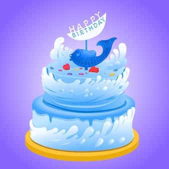 Gâteau d'anniversaire de dessin animé avec topper