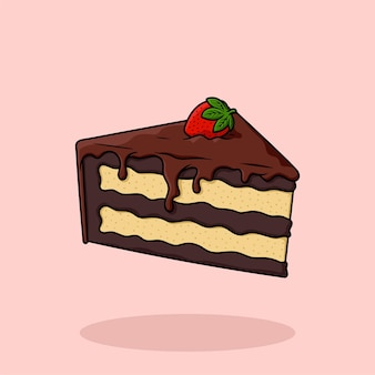 Gâteau d'anniversaire dessiné à la main en tranches de vecteur de dessin animé plat isolé