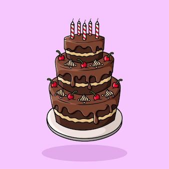 Gâteau d'anniversaire dessiné à la main, vecteur de dessin animé plat isolé