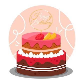 Gâteau d'anniversaire détaillé avec topper