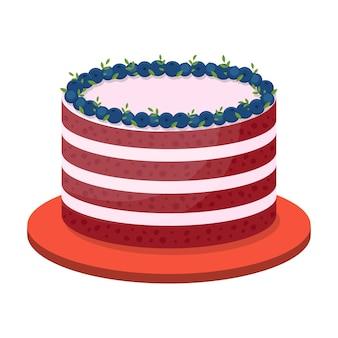 Gâteau d'anniversaire sur fond blanc, illustration vectorielle