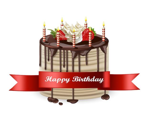 Gâteau d'anniversaire heureux réaliste