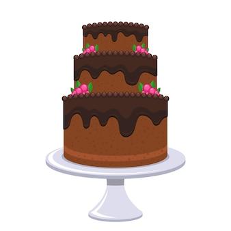 Gâteau d'anniversaire isolé sur fond blanc