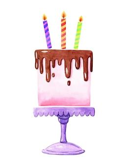 Gâteau d'anniversaire rose aquarelle avec des bougies sur isolé