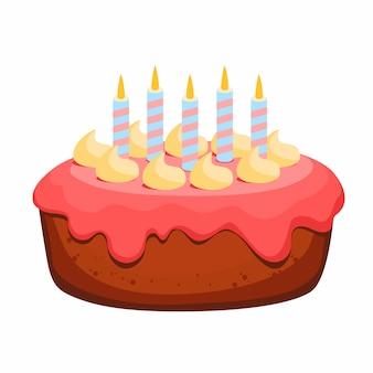 Gâteau d'anniversaire avec sept bougies