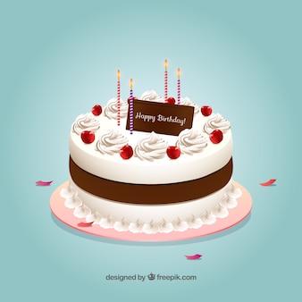 Gâteau d'anniversaire avec le style realisitc