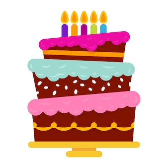 Gâteau d'anniversaire sucré avec cinq bougies allumées. dessert de vacances coloré. fond de célébration de vecteur.