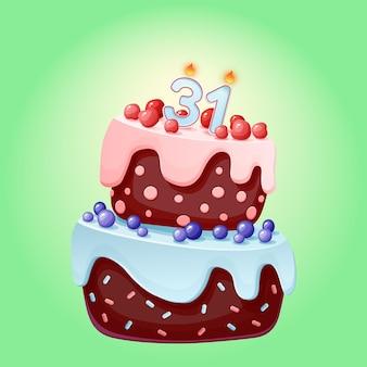 Gâteau d'anniversaire de trente et un ans avec des bougies. biscuit au chocolat aux baies, cerises et myrtilles. illustration de joyeux anniversaire