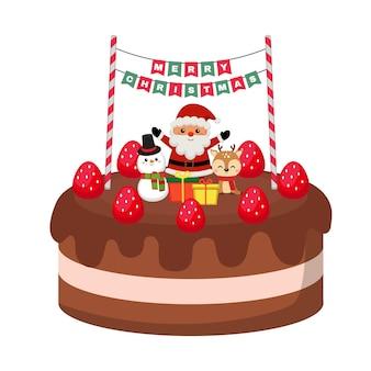 Gâteau au chocolat mignon avec décoration de noël isolé