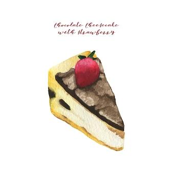 Gâteau au fromage au chocolat aquarelle