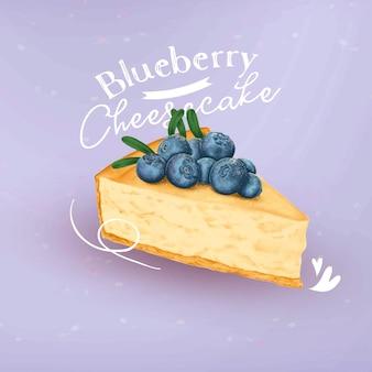 Gâteau au fromage aux bleuets dessiné à la main