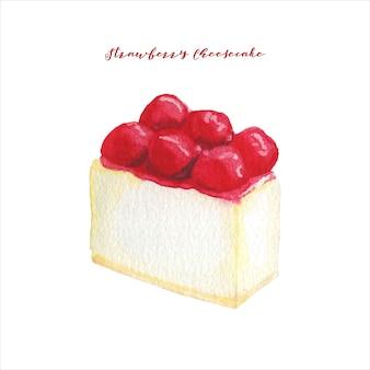 Gâteau au fromage aux fraises aquarelle
