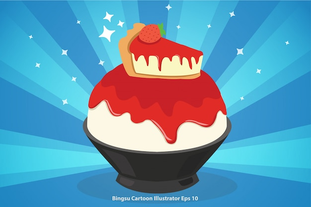 Gâteau au fromage aux fraises dessin animé bingsu