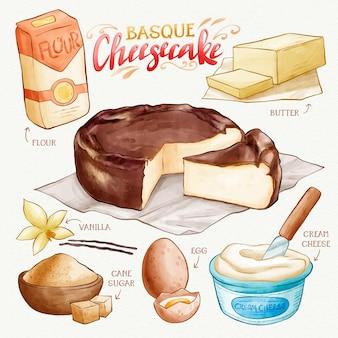 Gâteau au fromage basque délicieuse recette aquarelle