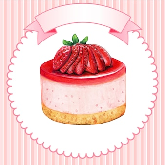Gâteau au fromage mini-fraise aquarelle mignon