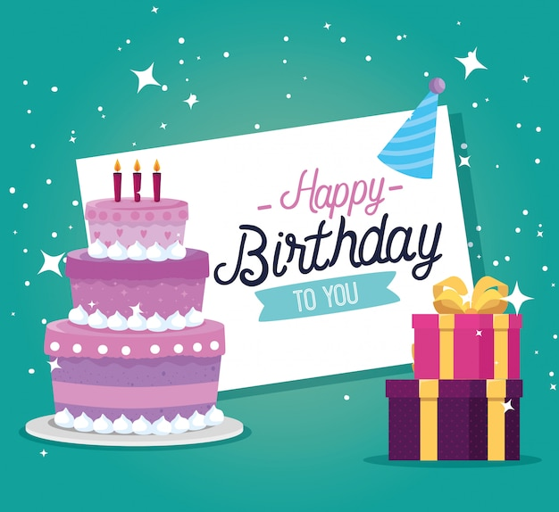 Gâteau aux bougies et cadeaux cadeaux décoration