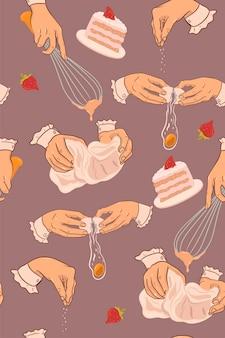 Gâteau aux fraises cuisson modèle sans couture. graphiques vectoriels.