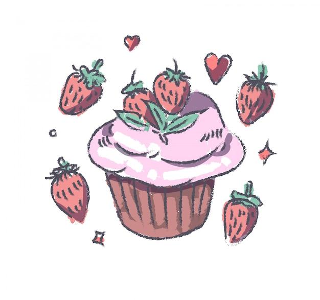 Gâteau aux fraises doodle
