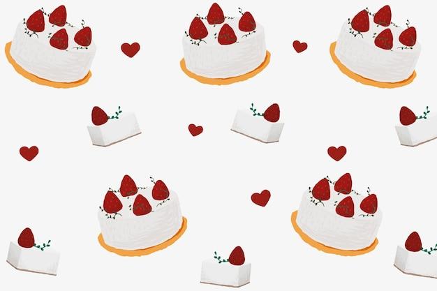 Gâteau aux fraises à motifs de fond vecteur mignon style dessiné à la main