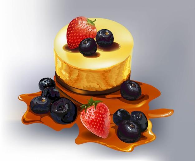 Gâteau aux fruits, mûre, fraise